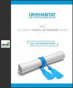 فراخوان جایزه طومار افتخار برنامه اسکان بشر ملل متحد در سال ۲۰۱۸