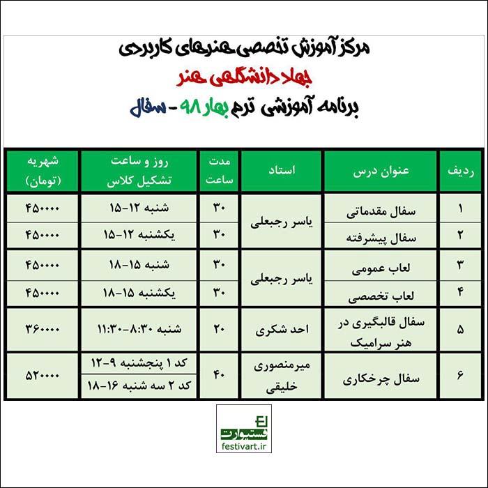 برنامه دوره های تخصصی سفال مرکز آموزش های تخصصی کاربردی جهاد دانشگاهی هنر
